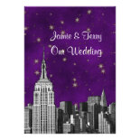 NYC ESB Skyline Etched Purple Starry Wedding Custom Invite
