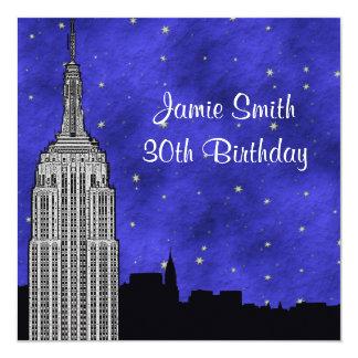 """NYC ESB Skyline Silhouette Blue Starry BG Birthday 5.25"""" Square Invitation Card"""
