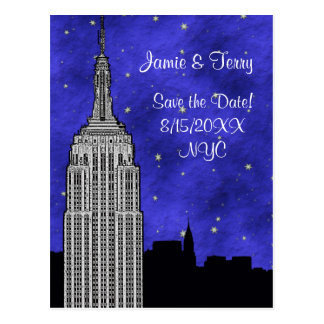 NYC ESB Skyline Silhouette Blue Starry Save Date Postcards