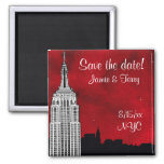 NYC ESB Skyline Silhouette Red Star Save Date Fridge Magnets