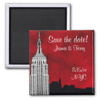 NYC ESB Skyline Silhouette Red Star Save Date 2 Inch Square Magnet