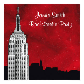 NYC ESB Skyline Silhouette Red Starry Bachelorette Personalized Invite