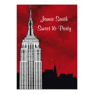 NYC ESB Skyline Silhouette Red Starry BG2 Sweet 16 Card