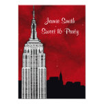 NYC ESB Skyline Silhouette Red Starry BG2 Sweet 16 5x7 Paper Invitation Card