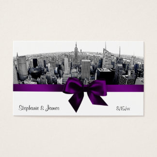 NYC Etched Fisheye Skyline BW Purpl Place Cards #2