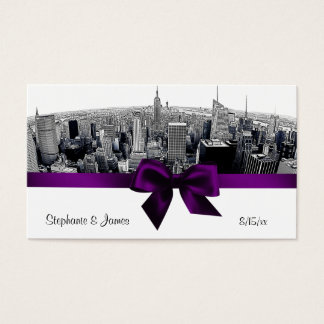 NYC Etched Fisheye Skyline BW Purple Escort Cards