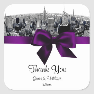NYC Etched Fisheye Skyline BW Purple Favor Tag