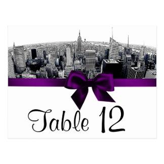 NYC Etched Fisheye Skyline BW Purple Table Number Postcard