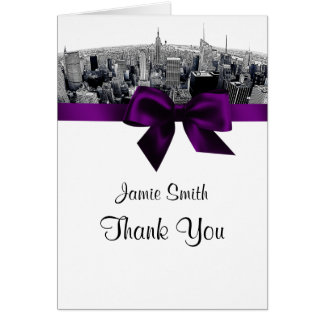 NYC Etched Fisheye Skyline BW Purple Thank You Stationery Note Card