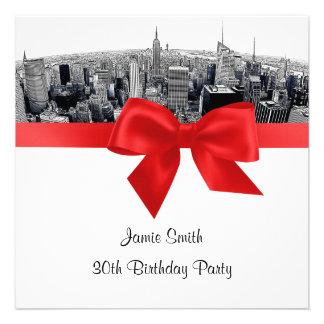 NYC Etched Fisheye Skyline BW Red Birthday SQ Custom Invite