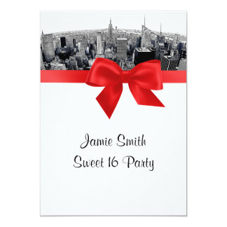NYC Etched Fisheye Skyline BW Red Sweet 16 Invitation