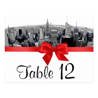 NYC Etched Fisheye Skyline BW Red Table Number Postcard