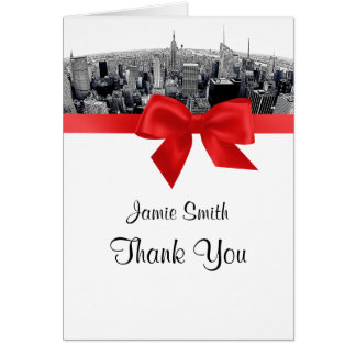 NYC Etched Fisheye Skyline BW Red Thank You Stationery Note Card