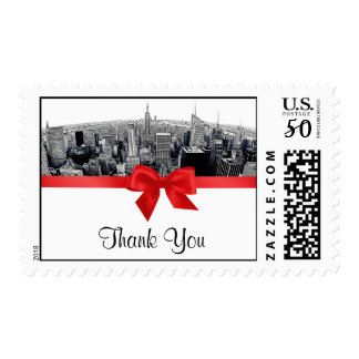 NYC Etched Fisheye Skyline BW Red Thank You H Postage