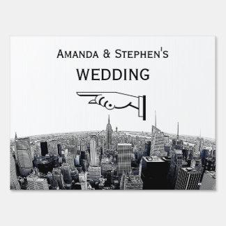 NYC Etched Fisheye Skyline BW Wedding Sign Medium
