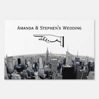 NYC Etched Fisheye Skyline BW Wedding Sign Small