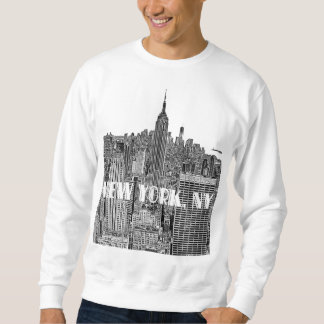 NYC Etched Look Skyline From Above Pull Over Sweatshirts