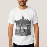 NYC Etched Look Skyline From Above Tshirts