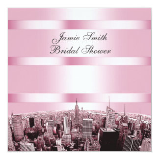NYC Etched Skyline 2, Black Pink Bridal Shower Card