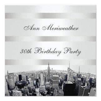 NYC Etched Skyline 2 Black White Birthday 5.25x5.25 Square Paper Invitation Card