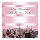 NYC Etched Skyline 2 Pink Black Birthday Personalized Invite