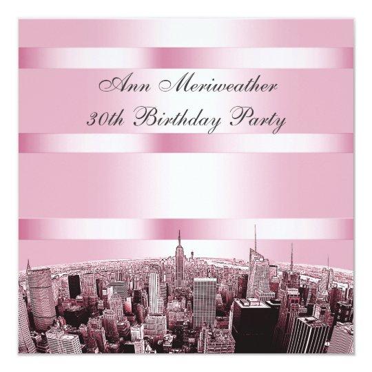 2ab96f7c51a7b NYC Etched Skyline 2 Pink Black Birthday Invitation