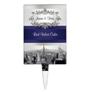 NYC Etched Skyline 2 White BG, Blue Ribbon Cake Cake Topper