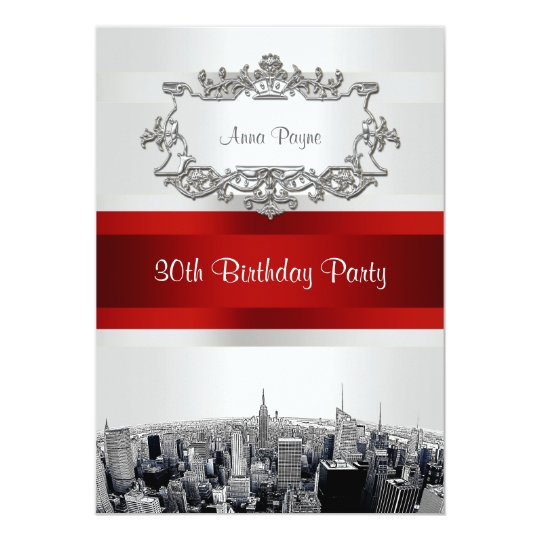 NYC Etched Skyline 2 White BG, Red Ribbon Birthday Card