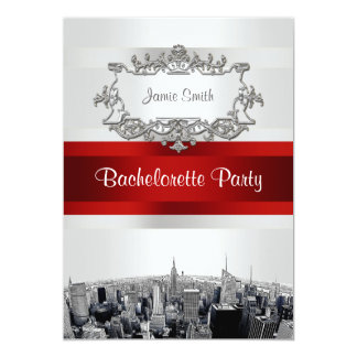 NYC Etched Skyline 2, White, Red Rbn Bachelorette 5x7 Paper Invitation Card