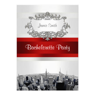 NYC Etched Skyline 2, White, Red Rbn Bachelorette Custom Invitations