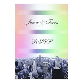 NYC Etched Skyline Pastel Rainbow 1 RSVP 3.5x5 Paper Invitation Card