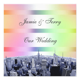 NYC Etched Skyline Pastel Rainbow 1 Wedding Personalized Announcement