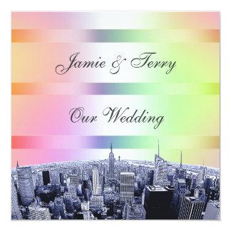 NYC Etched Skyline Pastel Rainbow 1 Wedding 5.25x5.25 Square Paper Invitation Card