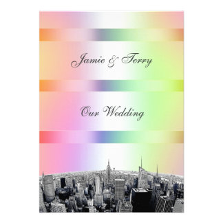 NYC Etched Skyline Pastel Rainbow 1 Wedding V Personalized Invitations