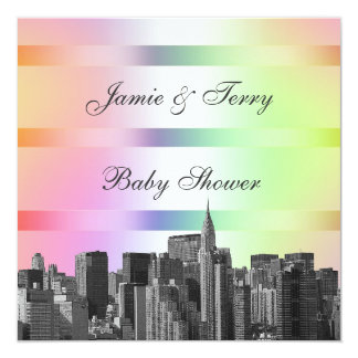 NYC Etched Skyline Pastel Rainbow #3 Baby Shower Card