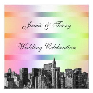 NYC Etched Skyline Pastel Rainbow 3 Wedding Invit Invitations