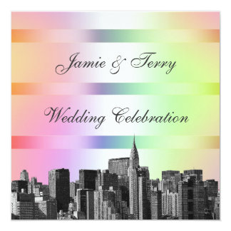 NYC Etched Skyline Pastel Rainbow #3 Wedding Invit 5.25x5.25 Square Paper Invitation Card