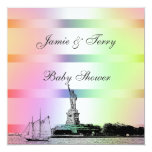 NYC Etched Skyline Pastel Rainbow #4 Baby Shower Invitation