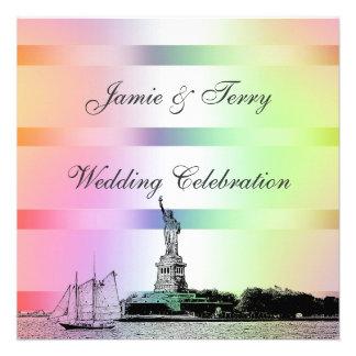 NYC Etched Skyline Pastel Rainbow 4 Wedding Invit Personalized Invite