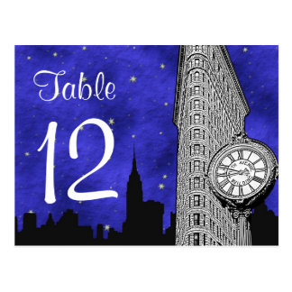 NYC Flatiron Skyline Silhouette Bl S2 Table Number Postcard