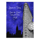 NYC Flatiron Skyline Silhouette Blu St Save Date Postcards