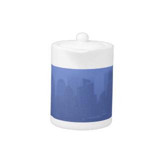 NYC Foggy Blue Skyline Teapot Gifts