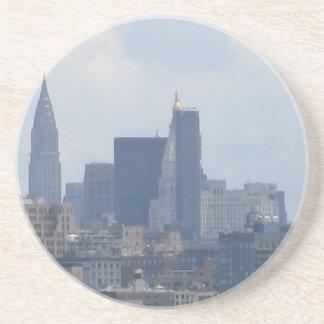 NYC foggy skyline Drink Coaster