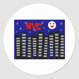NYC Funky Skyline With Buildings, Moon & Stars Classic Round Sticker
