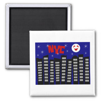NYC Funky Skyline With Buildings, Moon & Stars 2 Inch Square Magnet