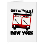 NYC, Get On The Bus With Red Hybrid Bus Greeting Cards