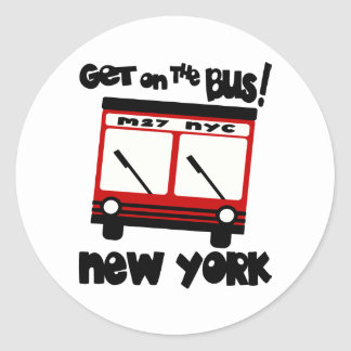 NYC, Get On The Bus With Red Hybrid Bus Classic Round Sticker