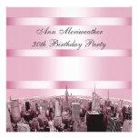 NYC grabó al agua fuerte cumpleaños negro rosado d Invitaciones Personales