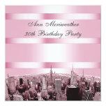 NYC grabó al agua fuerte cumpleaños negro rosado Invitaciones Personales