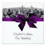 NYC grabó al agua fuerte el boda púrpura de BW del Invitaciones Personalizada